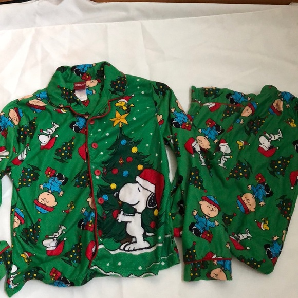 peanuts christmas pajama set size l 8